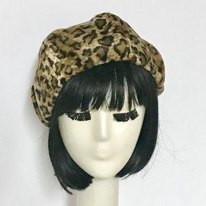 Leopard faux fur beret hat